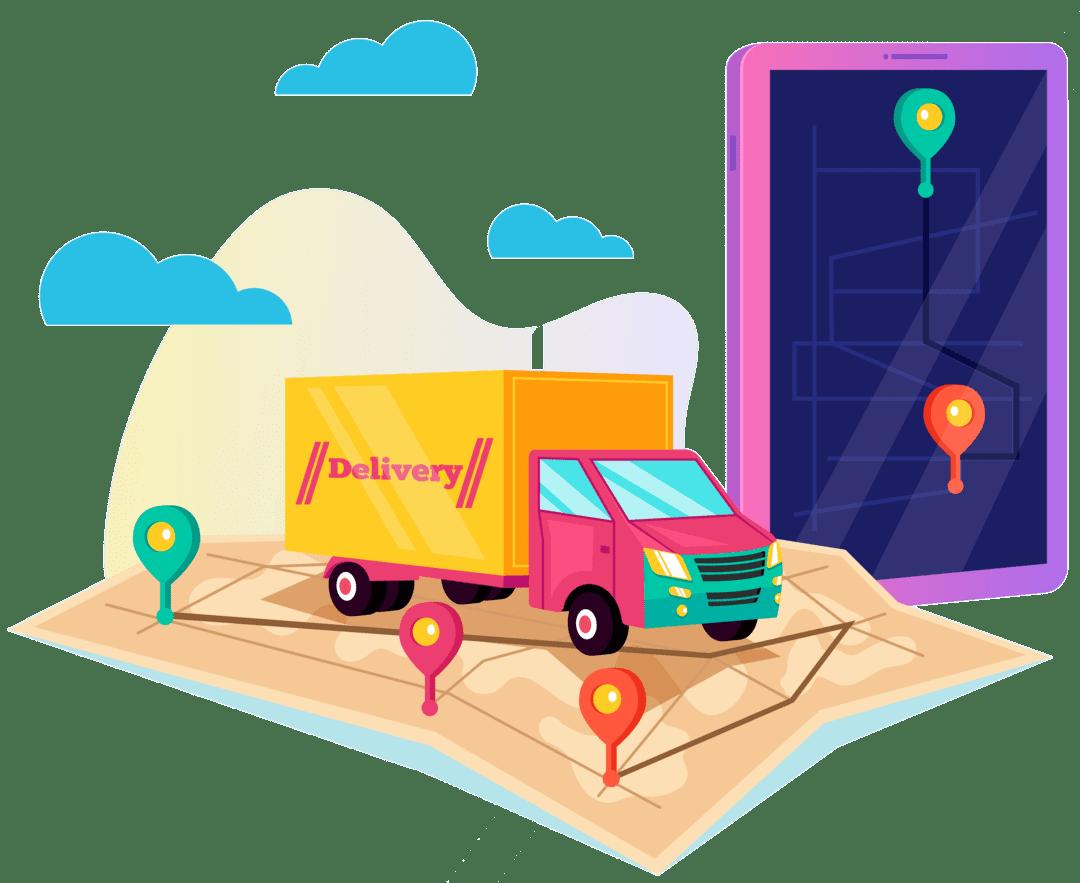 camion mappa telefono localizzazione